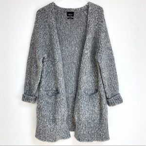 Zara knit | Long grey cardigan with pocket